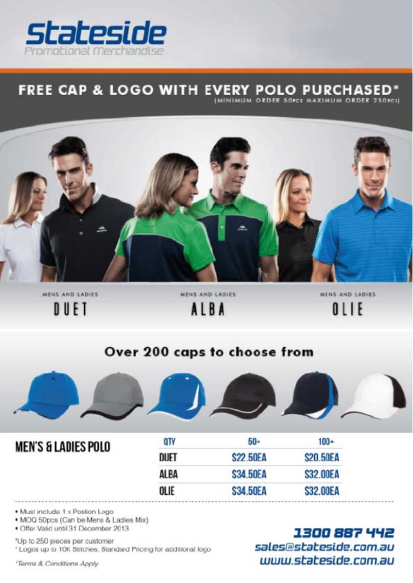 Free cap with polo